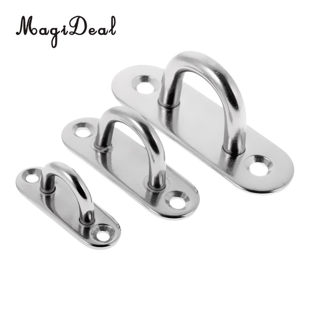 2-Pack M8 304 Stainless Steel Heavy Duty Diamond Pad Eye Hook Plate for Yoga Hammock Swing Marine Boat Application