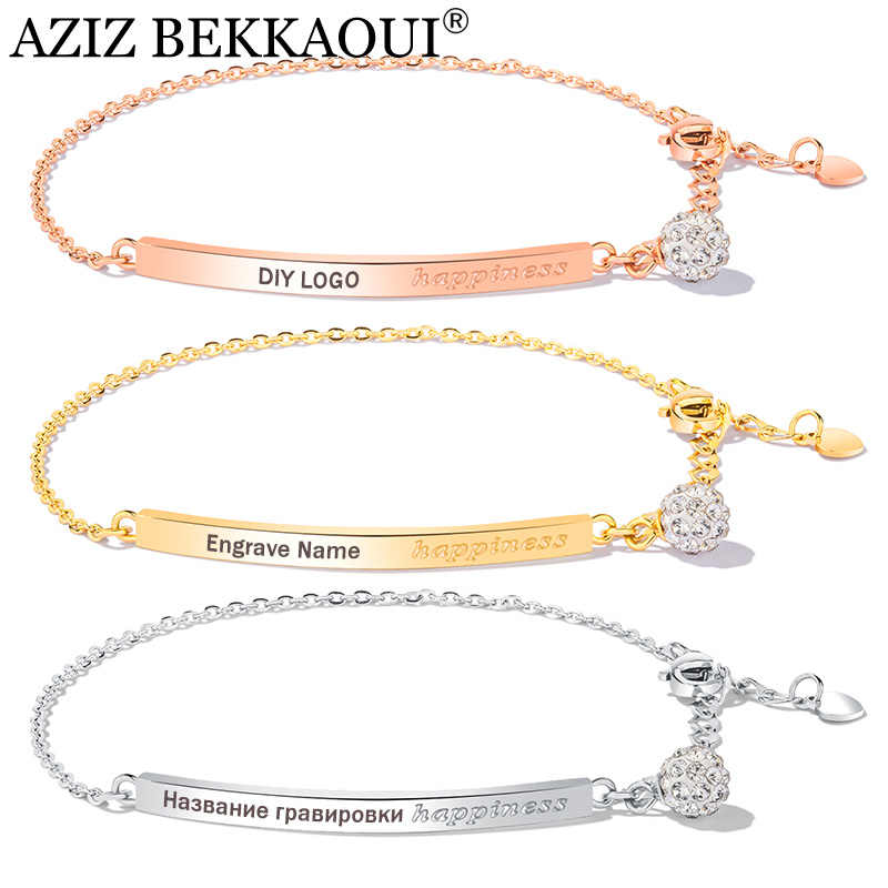 AZIZ BEKKAOUI Simple Style Diy Logo Rose Gold Bangles For Women Crystal Charms Bracelet Engraved Name Stainless Steel Bracelet