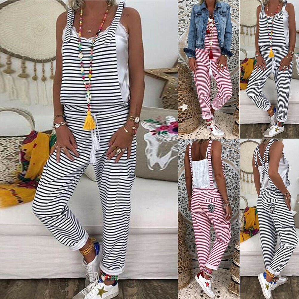 2019 New Fashion Summer Sexy Women Dungarees Harem Strap Pant Loose Jumpsuit Baggy Striped Trousers Overalls Hot Sale
