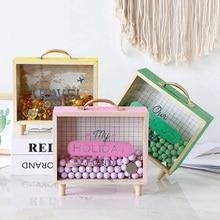 木製マネー銀行マネーボックス貯金箱家の装飾のギフト子供の貯金箱コイン貯金箱ガラスマネーセービングボックス
