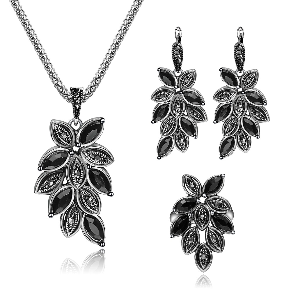 Vintage Multicolor Leaves Creative Design Jewelry Sets For Women Personally Necklace Pendant Earring Ring 3Pcs Jewelry Set Gifts