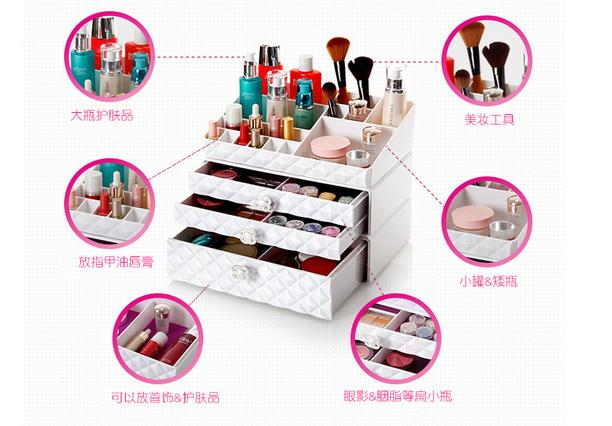 Surdimensionné rittenhouse transparent tiroir bureau cosmétiques boîte de rangement cosmétique boîte armoire bijoux boîte