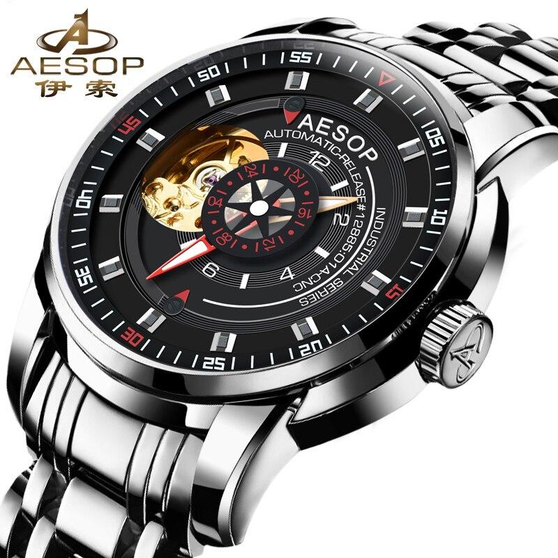 AESOP Top Brand Luxury Black Watch Men Automatic Mechanical Waterproof Wrist Wristwatch Male Clock Relogio Masculino Hodinky цена
