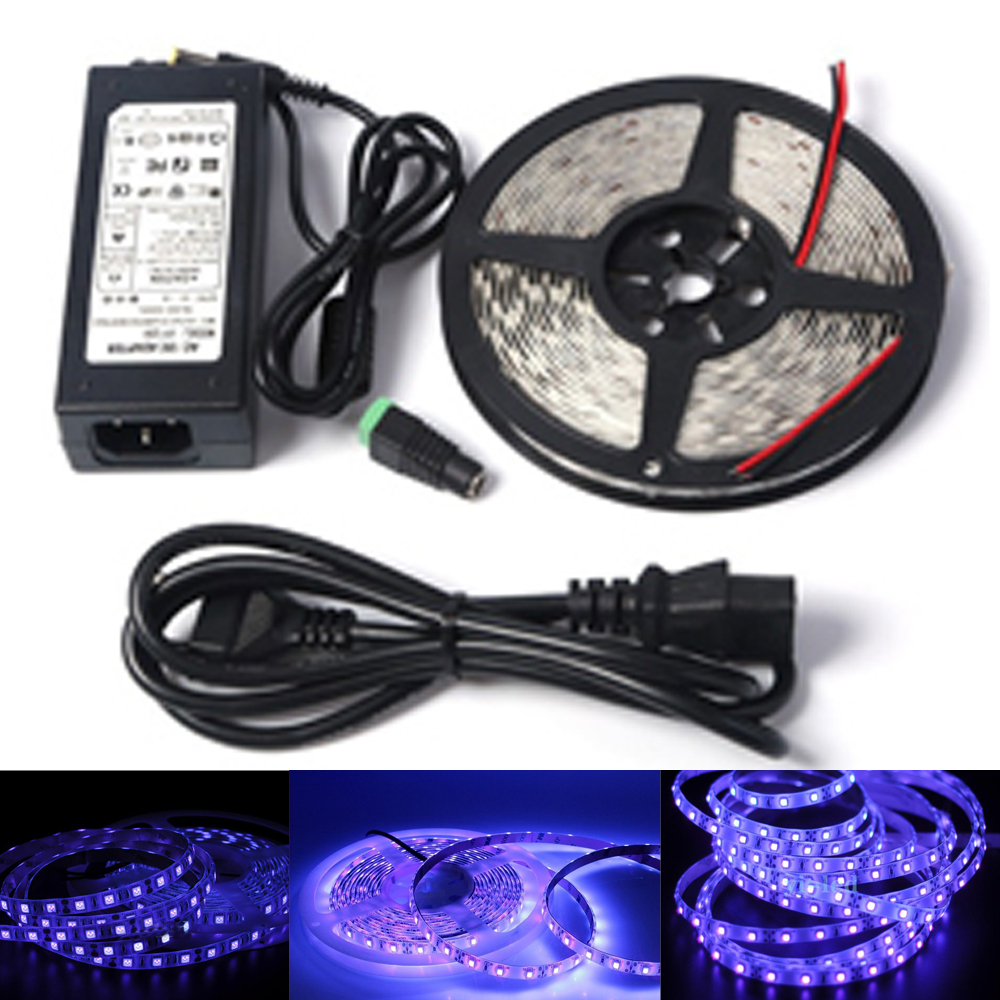 Dc12v 5050 smd purple violet uv 395 405nm flexible led strip black dc12v 5050 smd purple violet uv 395 405nm flexible led strip black light waterproof tape ribbon lamp ip65non power adapter in led strips from lights aloadofball Images