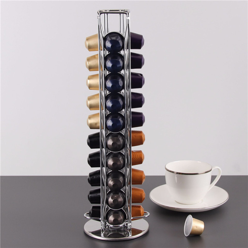 40 Cups Nespresso Coffee Pods Holder Rotating Rack Coffee Capsule Stand Dolce Gusto Capsules Storage Shelve Organization Holder 1