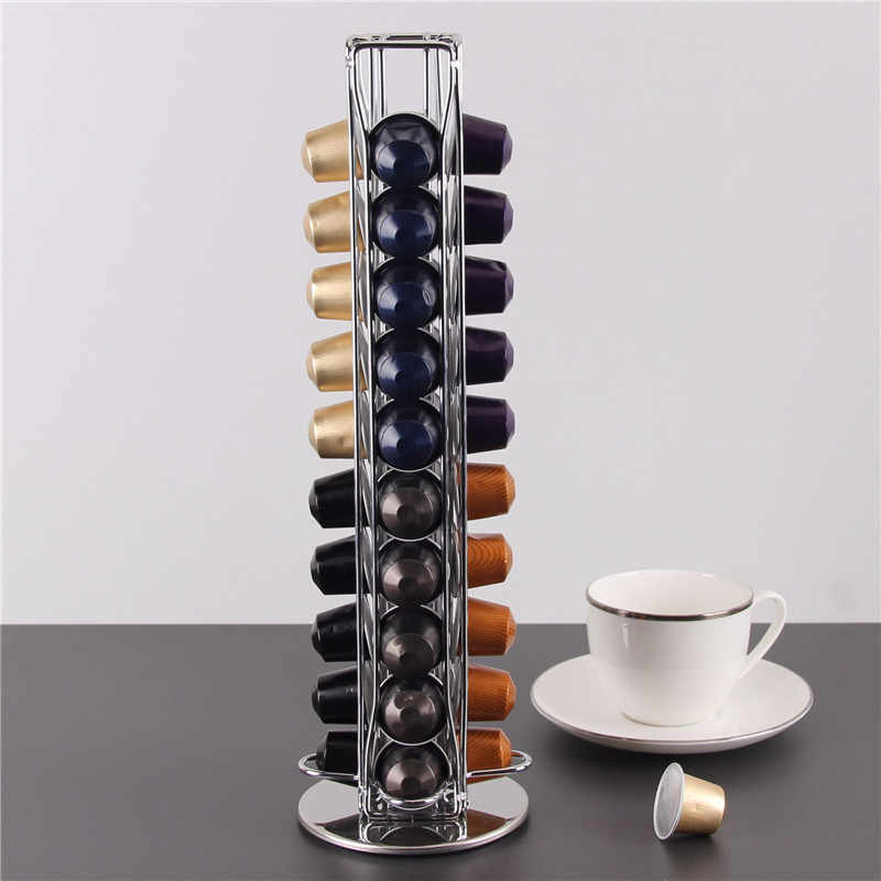 Coffee Capsule Holder Pod Stand For Nespresso Rack Storage Drawer Tower Rotating