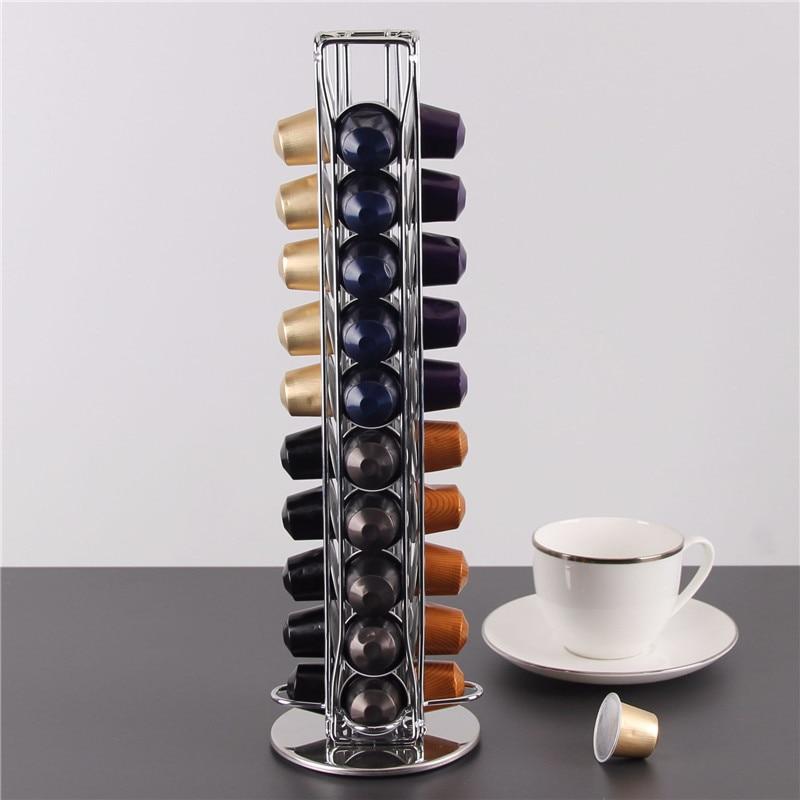 40 bardak Nespresso kahve kapsülleri tutucu döner raf kahve kapsül standı Dolce Gusto kapsül depolama raf organizatör tutucu