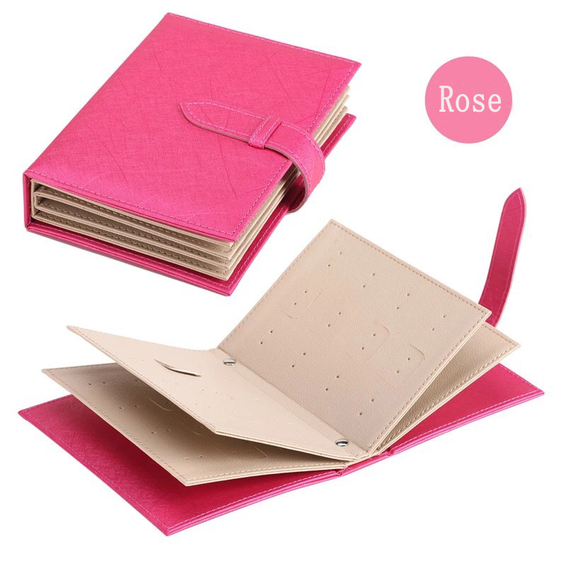 Pu Leather Stud Earrings Collection Jewelry Book Pattern Portable Jewelry Page Jewel Display Creative Jewelry Storage Box Rose