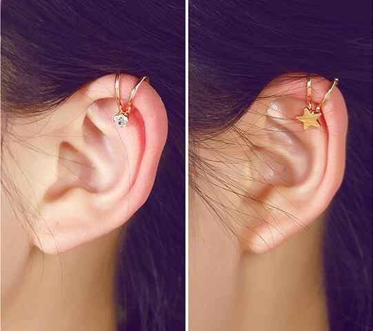 ED 0458 2018 gran oferta joyería femenina Linda estrella única sin agujero en la oreja pendientes falsos clip para hueso del oído accesorios de joyería femenina