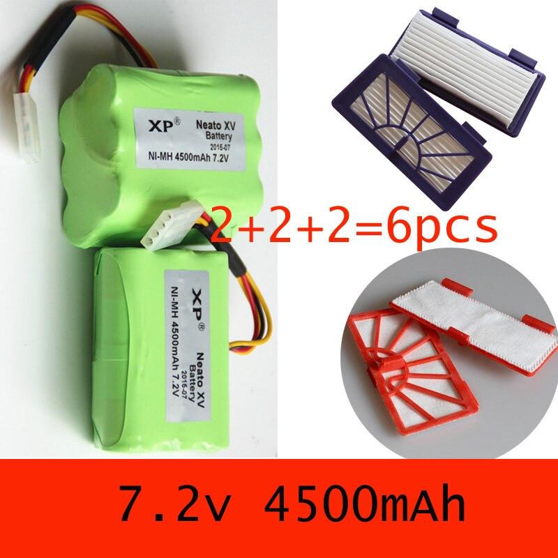 4500mAh neato xv-11 battery For Neato XV-11 XV-12 XV-14 XV-15 XV-21 to 2 Batteries+2 Pet Allergy hepa Filters+2 Filter cotton