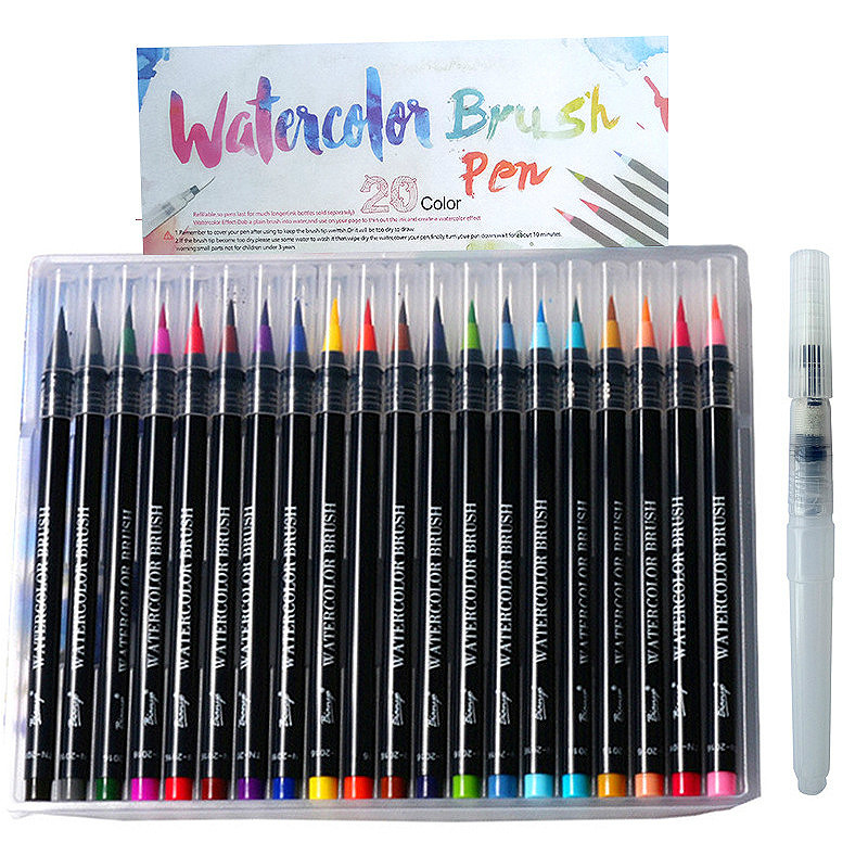 20 Color Premium Soft Watercolor Brush Pen Markers Pens Student Beginner Paintbrush for Sketch Drawing Manga Comic Handwriting