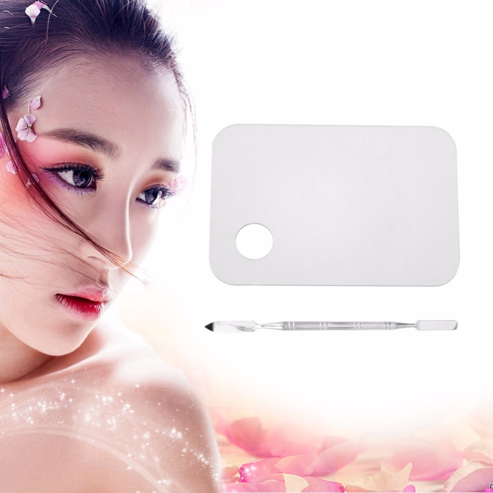 1set Acrylic Makeup Mixing Palette Nail Art Gel Palette Plate Knife With Spatula Makeup Foundation Color Blending Tool