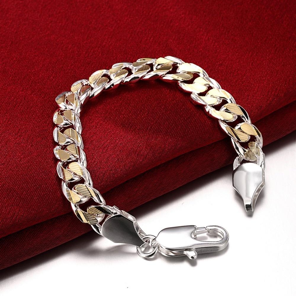 13a5a724aff GNIMEGIL Men's Jewelry 925 Stamped Silver Plated 10mm 21cm Gold Color Chain  Bracelets Mix Color Bracelet