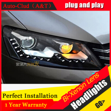 Auto Clud 2011-2015 For vw passat B7 headlights bi xenon lens passat B7 head lamps car styling U LED DRL H7 xenon parking