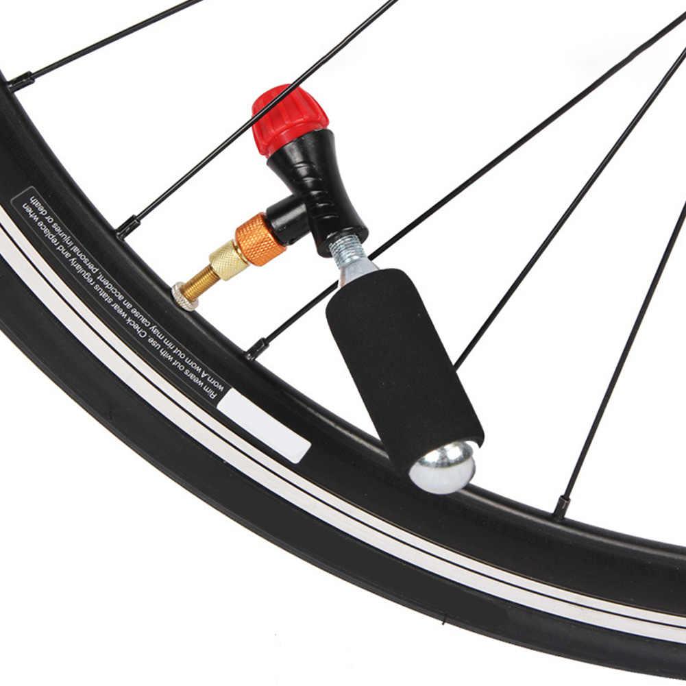 Sepeda Ban Tick Mini Tangan Kepala Pompa Sepeda untuk CO2 Botol Schrader Presta Katup Cepat Inflatable Road MTB Sepeda Gunung