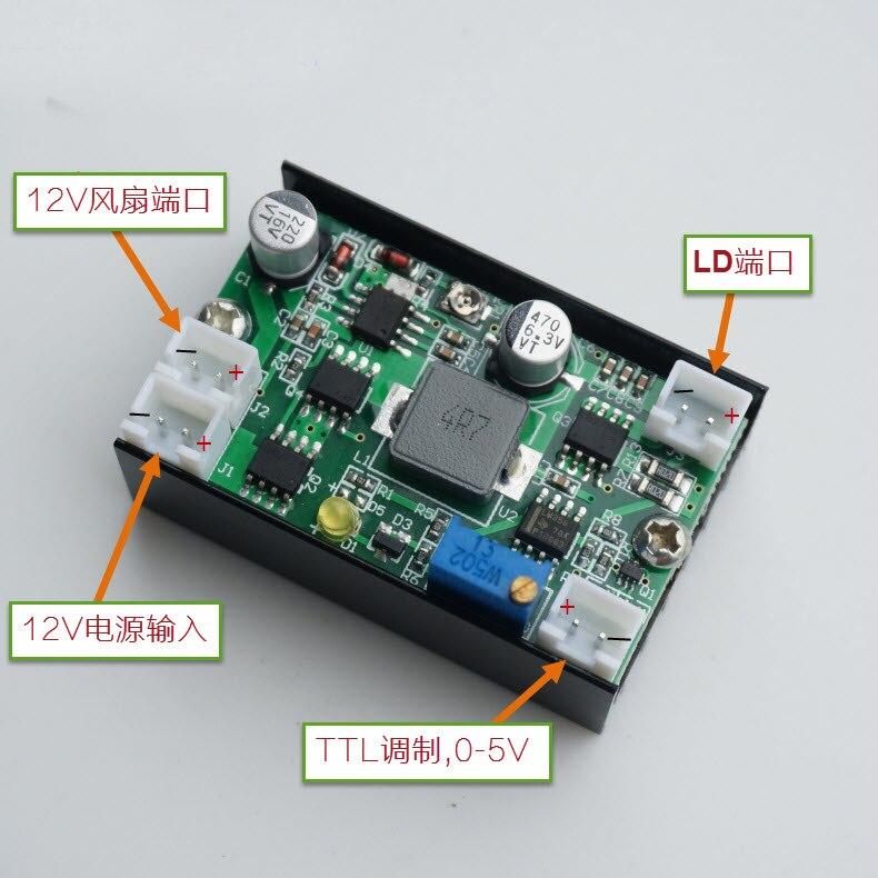 5A 12 v 3.5-4.5 w Buck Corrente Costante bordo di Driver di Alimentazione/Laser/LED Driver w /Modulazione TTL VENTOLA di raffreddamento PER 405/445/450/520nm5A 12 v 3.5-4.5 w Buck Corrente Costante bordo di Driver di Alimentazione/Laser/LED Driver w /Modulazione TTL VENTOLA di raffreddamento PER 405/445/450/520nm