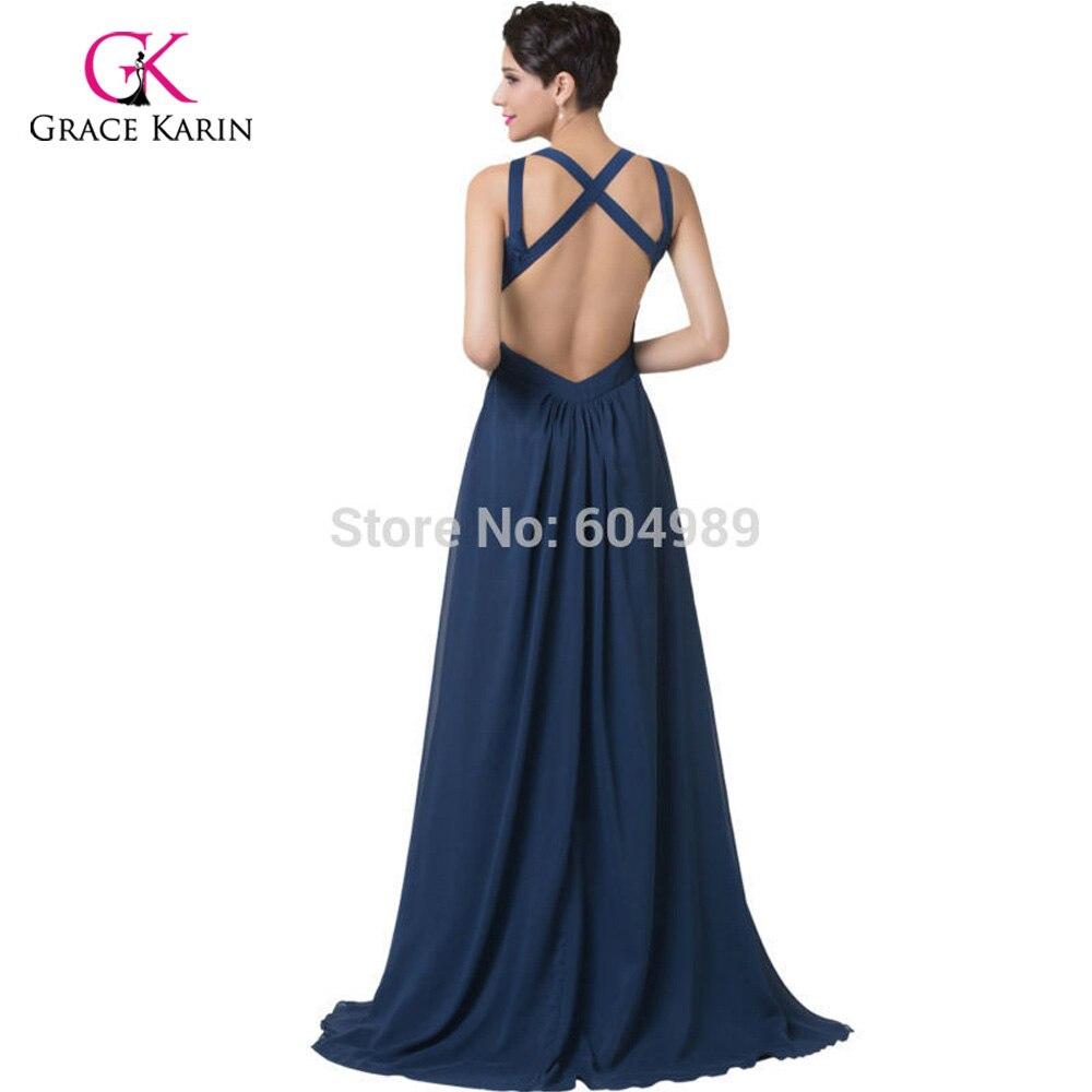 Elegant Split Navy Blue Long Evening Dresses 2018 Grace Karin ...