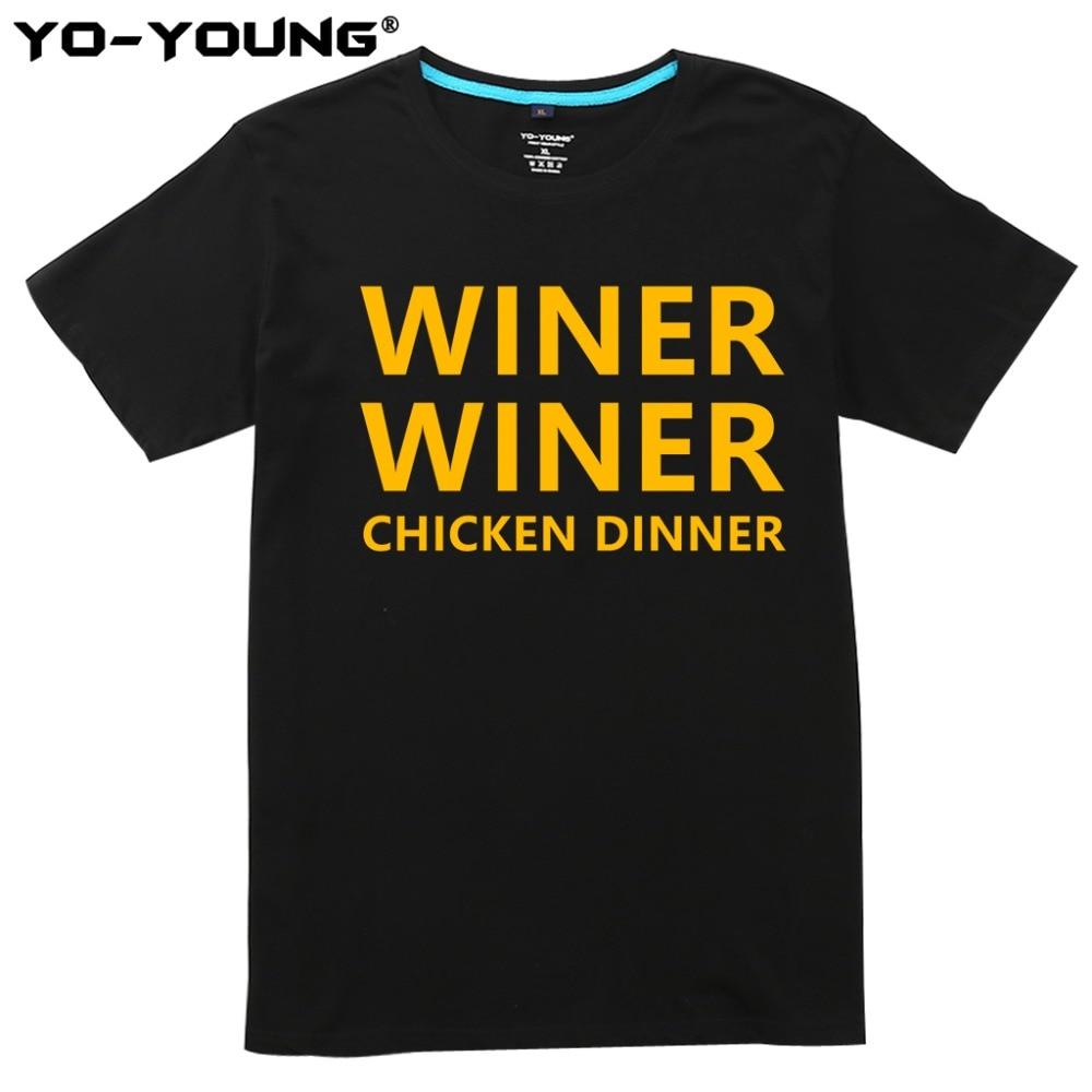 New Men T shirts World Hot FPS Game Player Unknowns Battlegrounds t shirts PUBG Winner Winner Chicken Dinner 100% Cotton