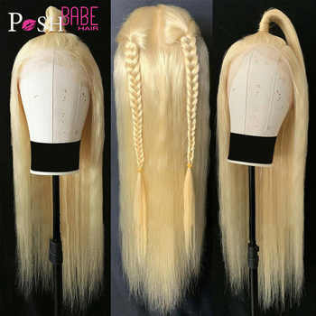 613 Honey Blonde Color Remy Brazilian Straight Lace Front Human Hair Wig 8 - 28 inch 1B 613 Ombre Frontal Wigs for Black Women