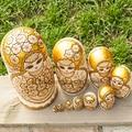 10 Camadas/set 22 cm Bonecas de Brinquedo Do Bebê Bonecas Do Assentamento do Russo De Madeira Pirogravura Basswood Matryoshka Boneca Presente Das Crianças