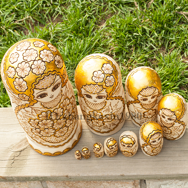 10 Layers/set 22cm Baby Toy Nesting Dolls Wooden Russian Dolls Basswood Pyrography Matryoshka Doll Children Gift