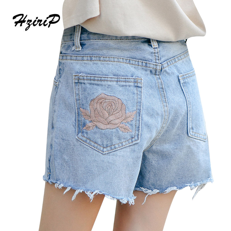 HziriP Summer Jeans Embroidery Floral Women Short High Waist Casual Women Button Loose Trousers Blue Ladies Wide Leg Denim Pants lanbaosi jeans cropped wide leg jeans for women high waist palazzo flare blue denim pants casual ladies mom jean wash trousers