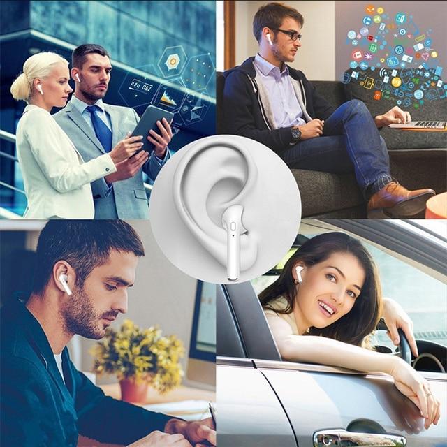 2 Pcs i7s TWS Mini Headphone Wireless Bluetooth Earphone Stereo Music Headset With Charge Box For Smart phone not Airpod i10 i13 5