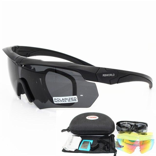 Polarizada de alta calidad gafas de sol TR90 militar gafas 5 lente bala  prueba ejército táctico c32c96c75fab