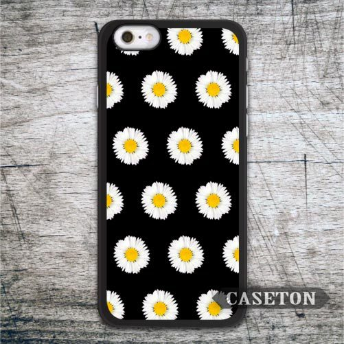 Daisy On Black Case For iPhone 7 6 6s Plus 5 5s SE 5c 4 4s and For iPod 5 Lovely Floral High Quality Cover Free Shipping