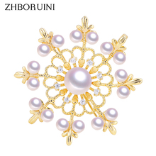 ZHBORUINI 2019 Natural Freshwater Pearl Brooch Simple Round Gold Many Pearls Pins Jewelry For Women Accessories