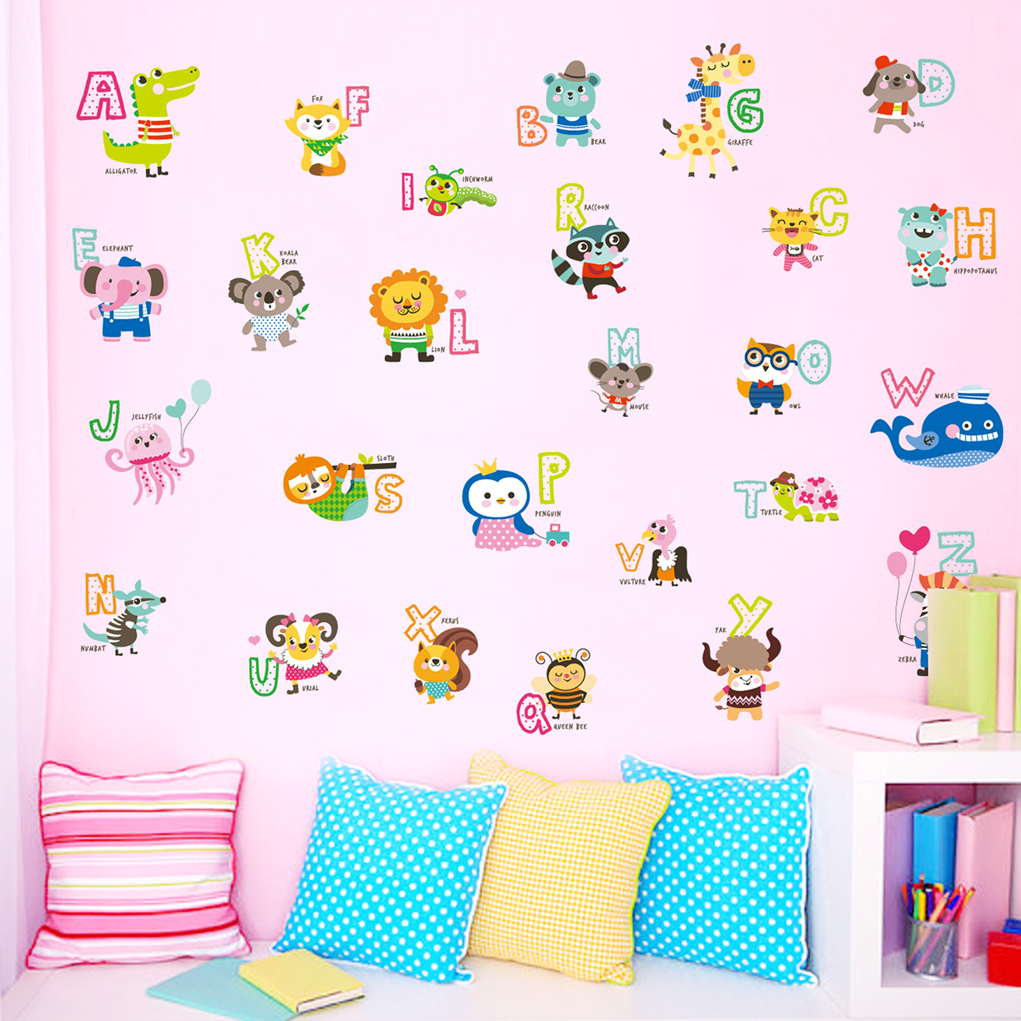 Kindergarten children cartoon stickers childrens room wall kindergarten children cartoon stickers childrens room wall stickers early learning english alphabet stickers in hair clips pins from beauty health on amipublicfo Images