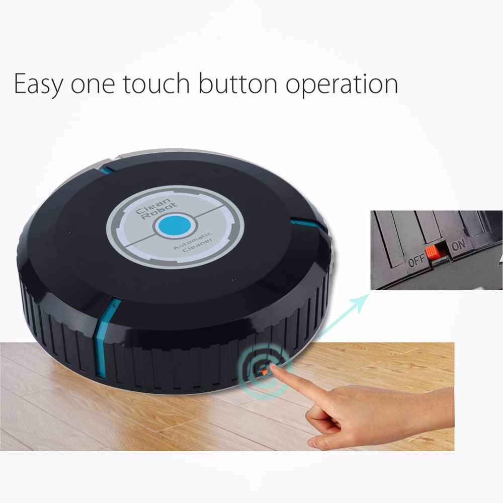 Automatic Vacuum Cleaner for home Dry Wet Mop Anti Collision Intelligent Sweeping Robot Cleaning Sweeper Brooms Black