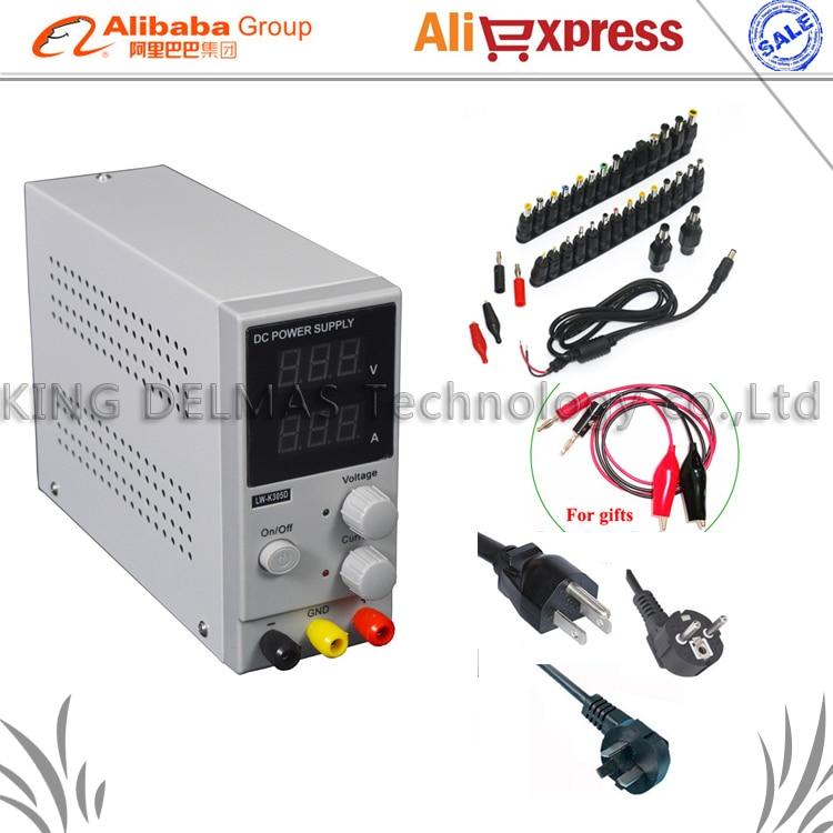 Original LW Mini alimentation numérique réglable en courant continu, 0 ~ 30 V 0 ~ 10A, 110 V-220 V alimentation à découpage 0.01 V/0,01a + 34/pcs DC jack