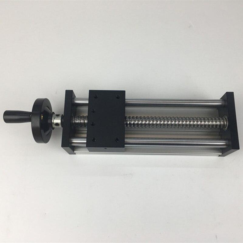 Rail de guidage linéaire à Table coulissante manuelle SFU1204 1605 1610 vis à billes course efficace 200mm longueur de déplacement plate-forme manuelle à main