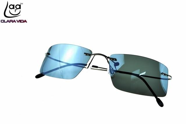 GENUINE [CLARA VIDA] Brand Titanium alloy 8g ultra light Rimless Polarized sunglasses Mens NV Drivie designer SPORT sun glasses