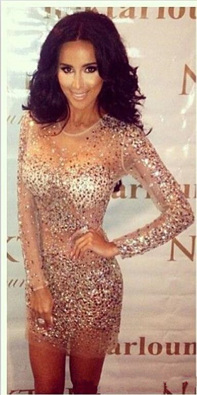 Kim Kardashian Sexy Robe De Cocktail Dresses Long Sleeve Sheer Neck Bling Champagne Crystals Beads Sheath Short Party Gowns 2015