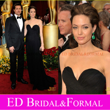 Angelina Jolie Schwarz 81st Oscars 2009 Berühmtheit Abend Prom Formal Pageant Kleid Roter Teppich