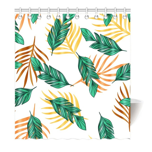 Home Fashion Green Leaves Shower Curtain Fabric Water Proof Mildew Resistant Durable Liner With Thick Free Hooks