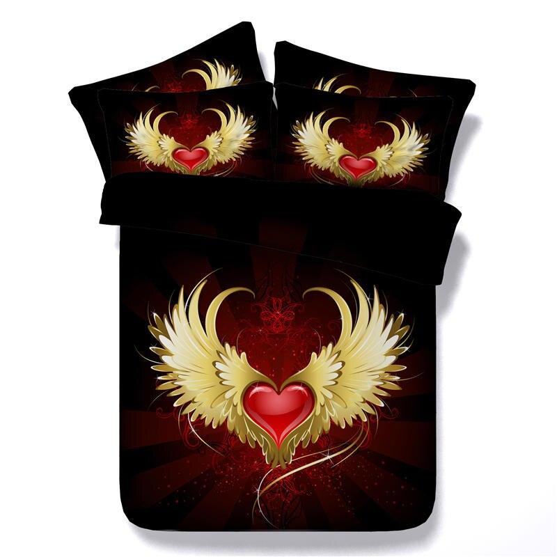 Aile rouge coeur impression housse de couette ensemble 3 pièces king size ensemble de literie couverture de lit complète reine taille linge noir maison textile décor