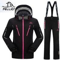 Пелльо Mountain Лыжный Спорт костюм Для женщин зимние уличные лыжный костюм Сноубординг костюмы утепленная Одежда высшего качества лыжные Кос
