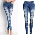 Olrain Autumn Women High Waist Jeans Lady Sexy Hole Ripped Skinny Pencil Pants Denim Jeans Pencil Pants