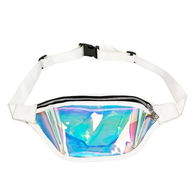Chic Clear PVC Laser Hologram Reflective Fanny Pack Women Zipper Waist Bag Transparent Punk Holographic Belt Bag