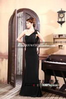 free shipping robe de soiree 2016 new hot&sexy black long one shoulder vestido de festa longo Formal party gown evening Dresses