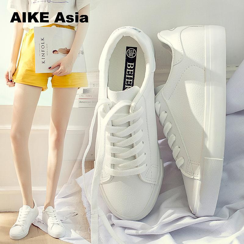 f5be8d1f841f Aike Asia Summer Women Sneakers 2018 Fashion Breathble Vulcanized Shoes Pu  leather Platform Lace up Casual