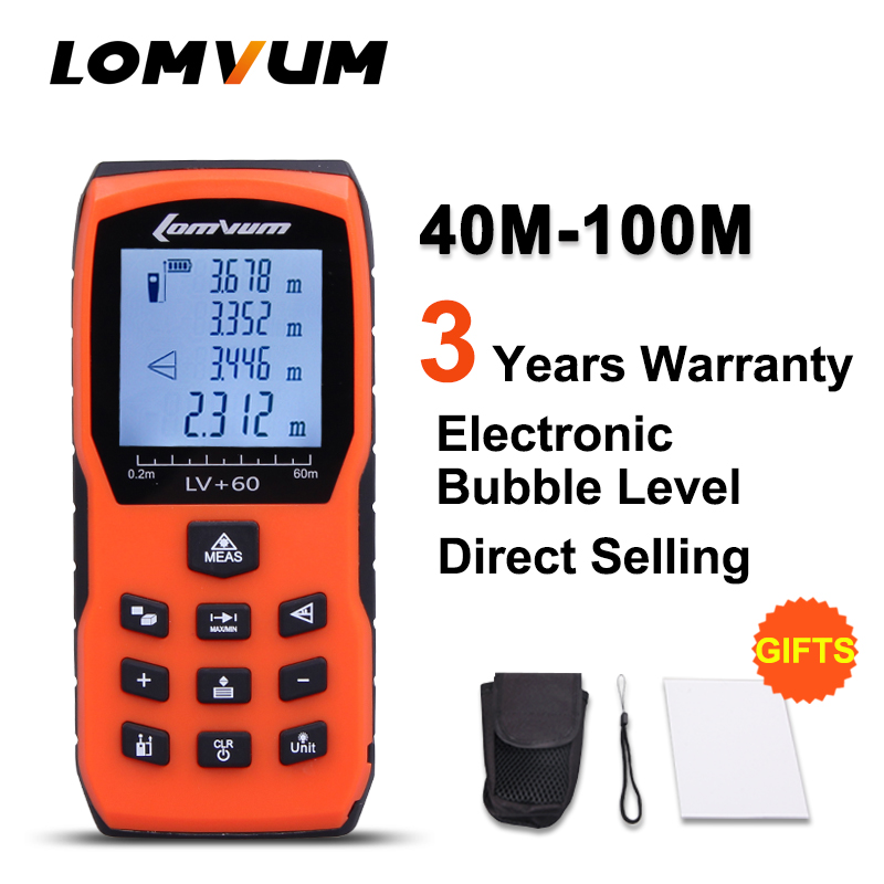 LOMVUM 40m No Case Trena Measure Tape Medidor Laser Ruler Digital Distance Meter Measurer Range Finder Lazer Metreler laser range finder 40m 60m 80m 100m digital laser distance meter tape area volume angle engineer measure construction tools