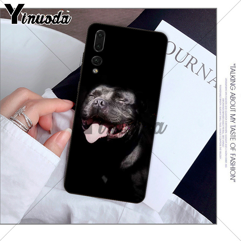 Yinuoda Pit Bull Dog TPU black Phone Case Cover Shell for Huawei P10 plus  20 pro P20 lite mate9 10 lite honor 10 view10 case