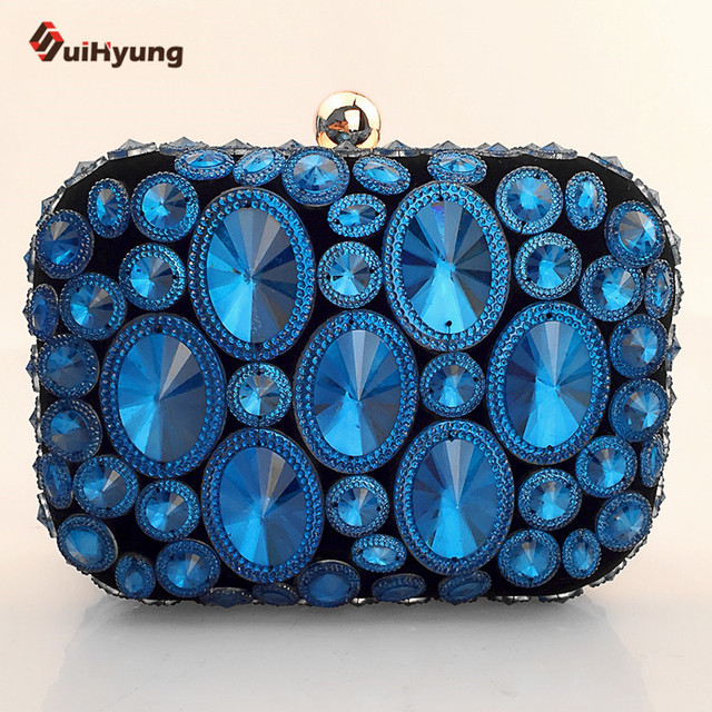 New Women Hand-beaded Clutch Fashion Colored Crystal Evening Bag Pearl Party Handbag Crown Peacock Diamond Chain Shoulder Bag
