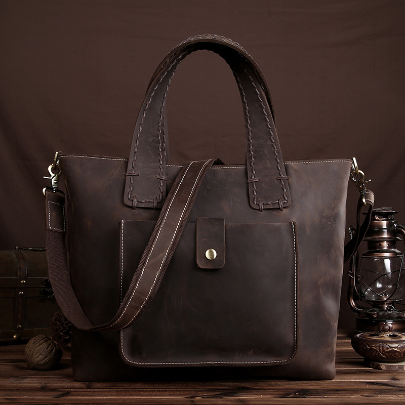 Top Quality Crazy Horse Cowhide Tote Handbag Women Genuine Leather Large Capacity Female Crossbody Shoulder Messenger Travel Bag women fashion high quality shoulder bag brand handbag female tote retro large capacity travel classic messenger crossbody bag