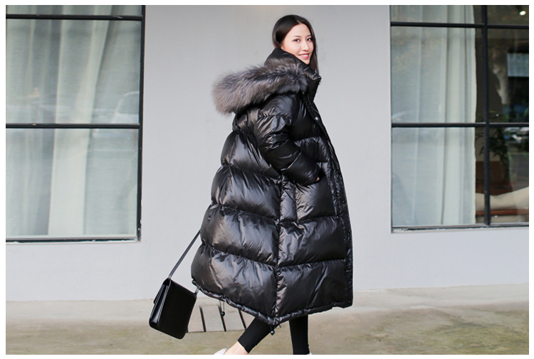 Women's winter black loose faux fur collar   coat   fashion casual hat long style waterproof padded windproof   down   jacket women
