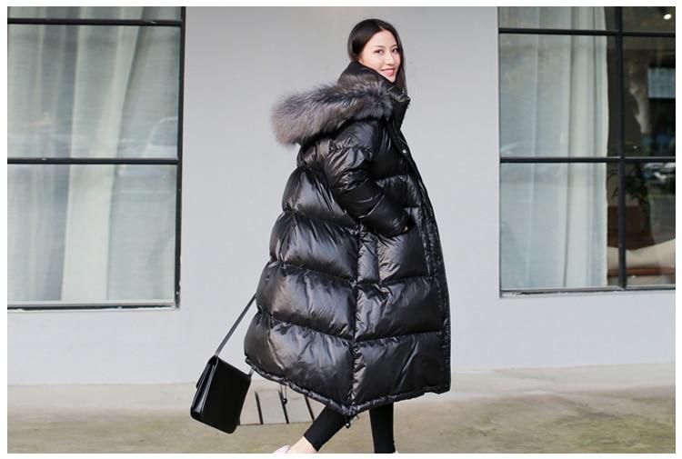 Women's winter black loose faux fur collar   coat   fashion casual hat long style waterproof padded windproof   down   jacket women
